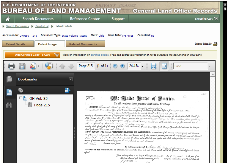 land patent 011