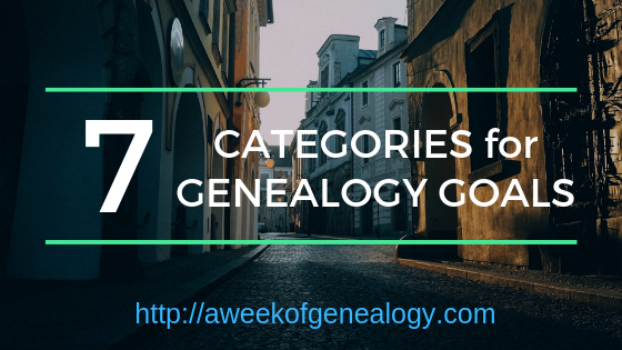 7 Categories for Genealogy Goals