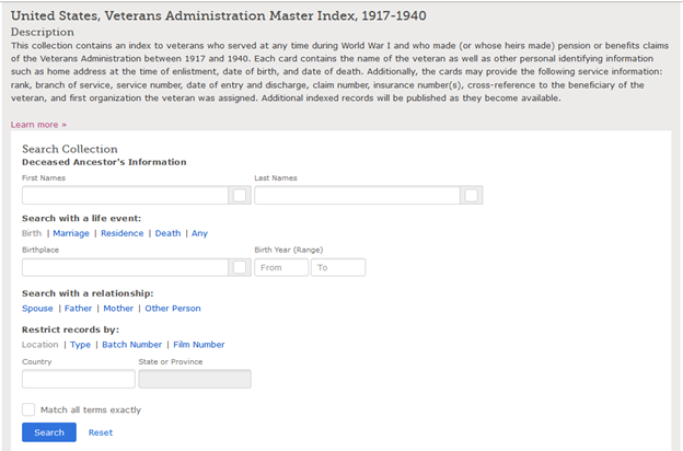 Family Search search page for U.S. Veterans Administration Master Index