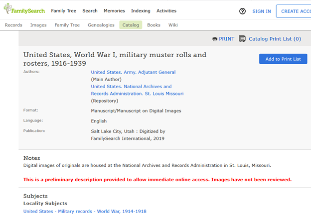 US WWI Muster Roster Rolls on FamilySearch