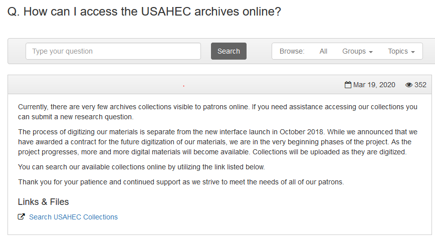 How can I access USAHEC archives online FAQ